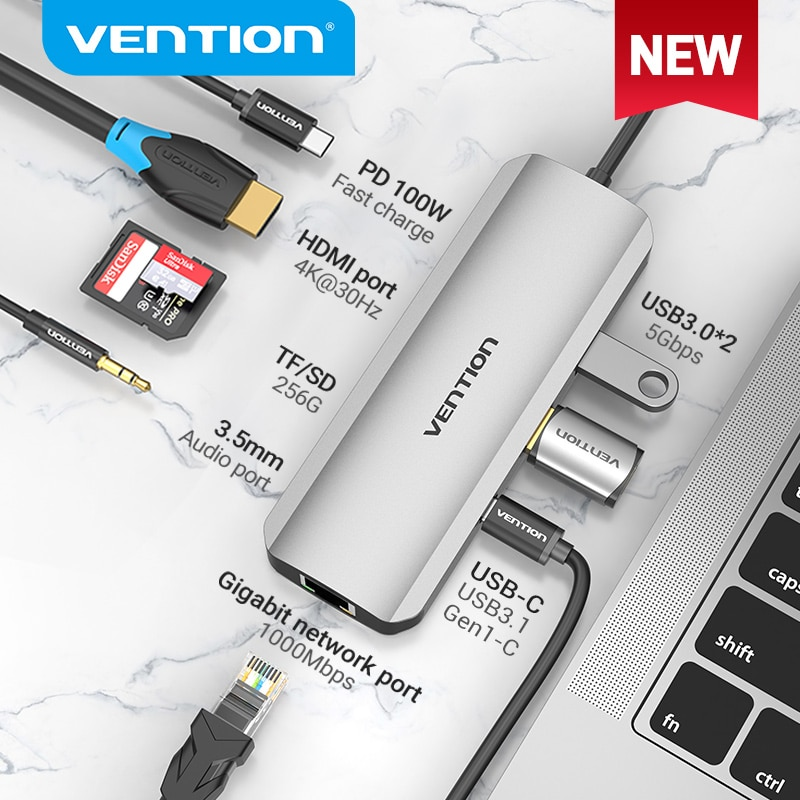 Vention USB C Hub Type 3 1 до 4K HDMI RJ45 PD 0 OTG адаптер док станция для MacBook Air Pro 2020 Huawei Mate 30 PC