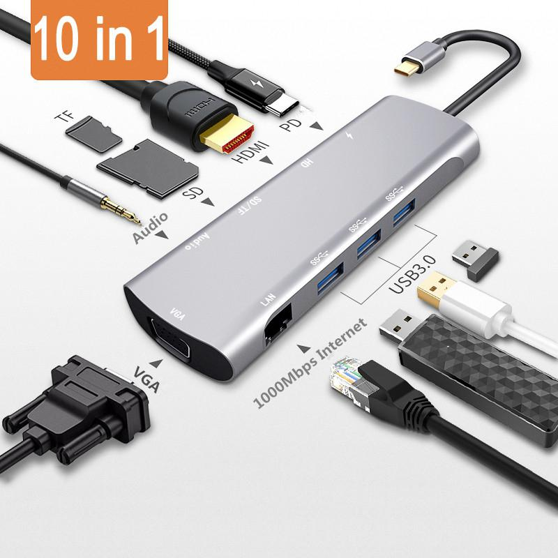 10 в 1 концентратор адаптер USB C к Hdmimi VGA Rj45 3 5 мм Aux разъем с SD TF Pd USB3.1 для Macbook Pro