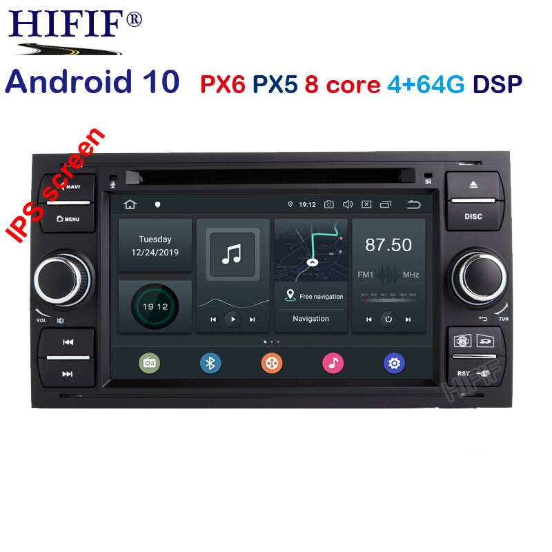 Фото Автомобильный DVD плеер PX6 DSP IPS Android 10 0 2 din для Ford Mondeo S max Focus C MAX Galaxy Fiesta transit Fusion Connect