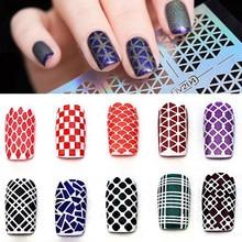 Randomly!! 5 Sheets DIY Reusable Hollow Out Nail Art Template Stickers Stamp Stencil Nail Stamping Tool