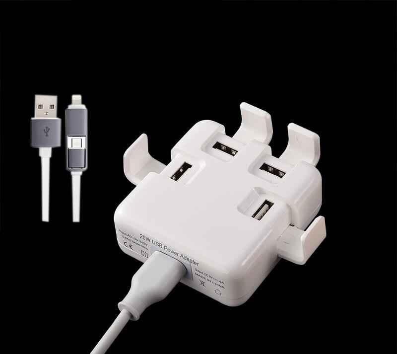 Универсальная лента питания 4 USB зарядное устройство штепсельная Вилка США и ЕС