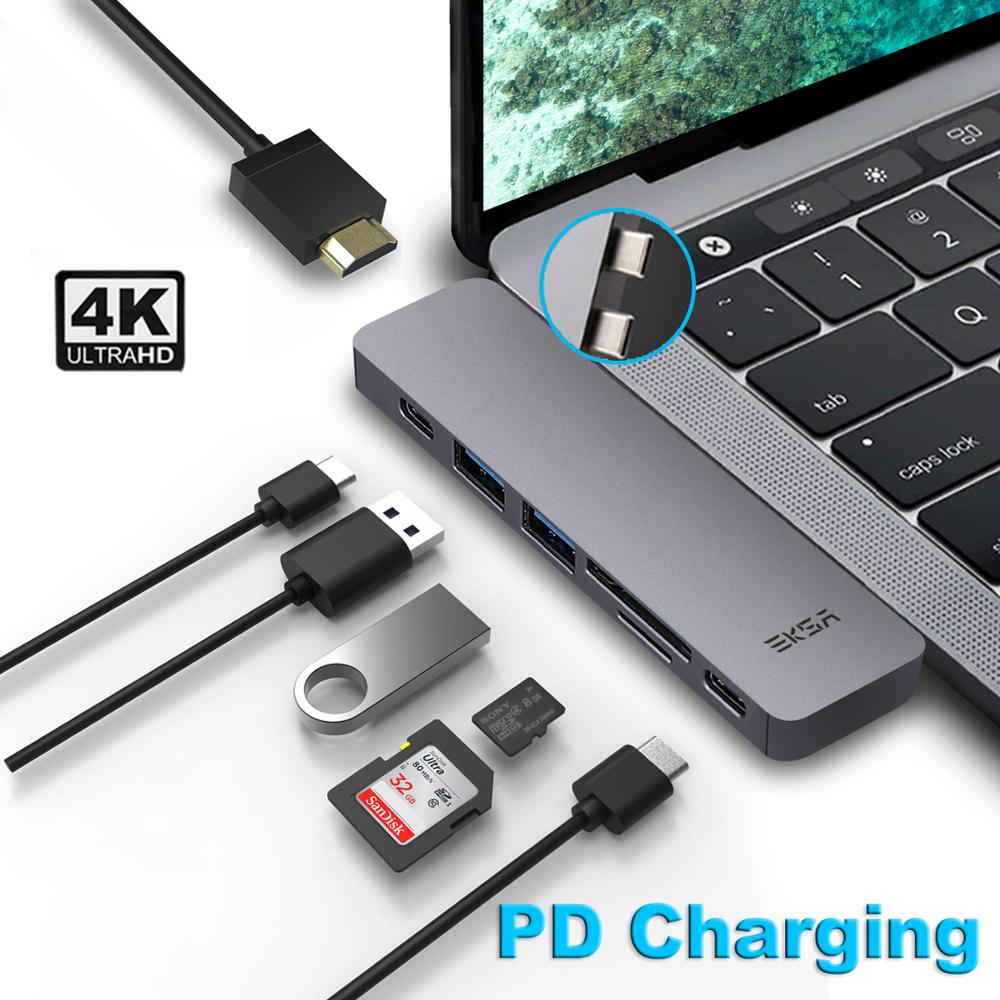 Usb хаб EKSA Thunderbolt 3 с HDMI 4K type C адаптер PD USB 0 портом для MacBook Pro2016/2017/2018/Air 2018 7 в 1|USB-хабы| |