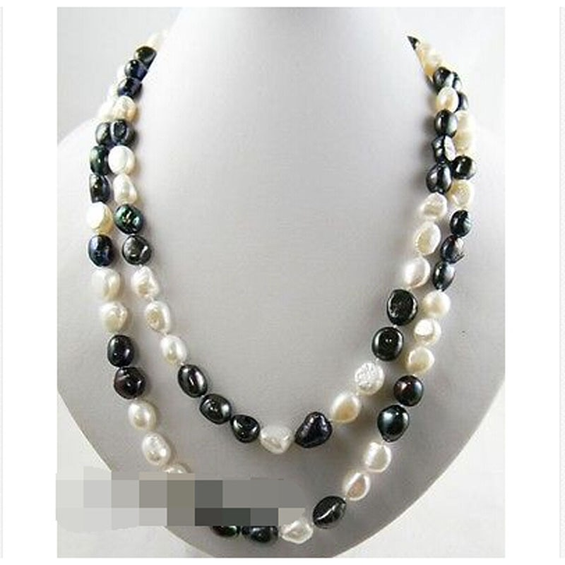 Free Shipping>>&gt42'' 9mm white black baroque freshwater pearl necklace|pearl earings|pearl necklace and braceletnecklace long |