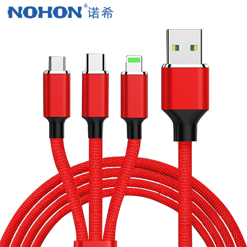 Кабель NOHON 3 в 1 Micro USB Type C для Samsung S8 Xiaomi 4 LG Lighting 8 Pin iPhone 7 Plus X кабели зарядки