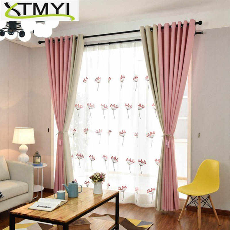 Curtains For Living Room Modern Blackout Pink/green/blue/purple Bedroom Finished Drapes For Window Treatment