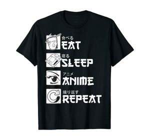 Eat Sleep Anime Repeat Shirt Funny Japanese Manga Gift Tee T-Shirt Harajuku Ulzzang Tshirt Gothic Hip Hop Top Male