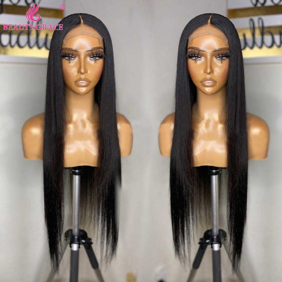 Long Straight Lace Front Wig Bone Straight Human Hair Wigs For Women Lace Frontal Wig Human Hair 4X4 Lace Closure Wig Remy Hair