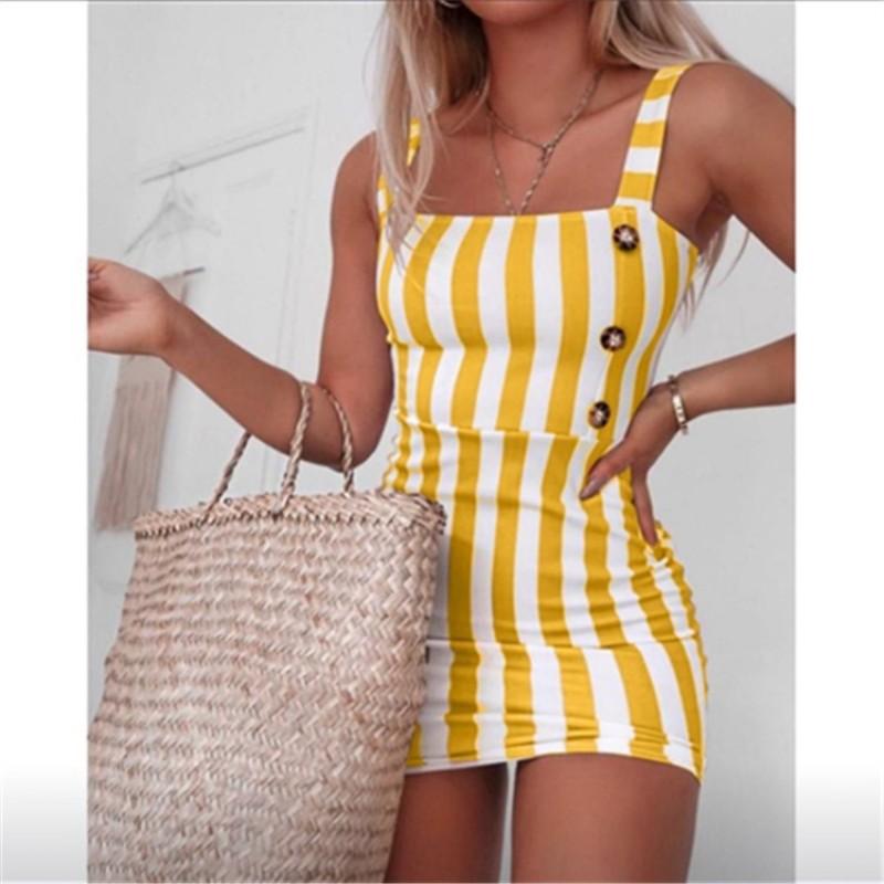 women striped sexy vintage mini dress sleeveless