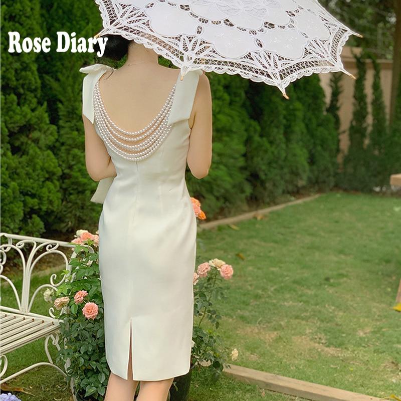 RoseDiary Vintage elegante suave chica Blackless Faxu perla rebordear blanco cena Noche vestidos verano Bow Strap Bodycon Mini vestido