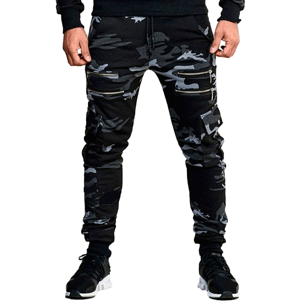 Fashion Men' s Trousers Camouflage Print High Waist Sports Pants Leggings Fitness Running Casual