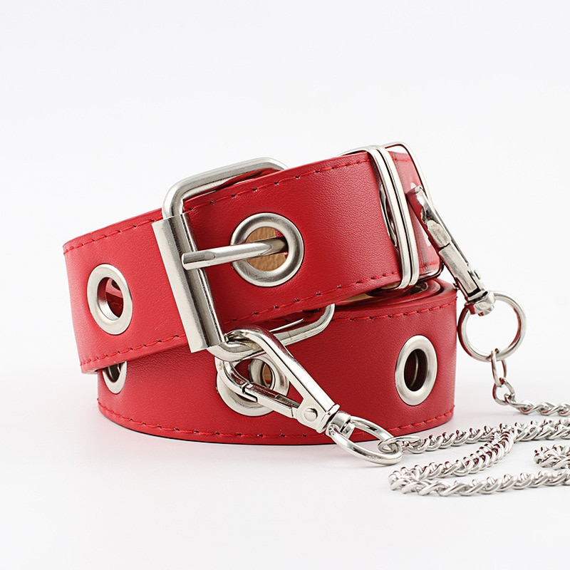 4 Colors Women Belt Imitation Leather Pin Buckle Belt New Punk Wind Jeans Fashion Individual Decorative Belt Chain Women Belt