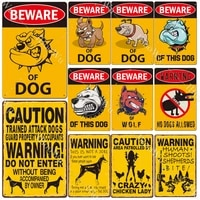 retro metal poster caution the dog vintage tin signs beware of dog plate warning garden home wall decor 20x30cm