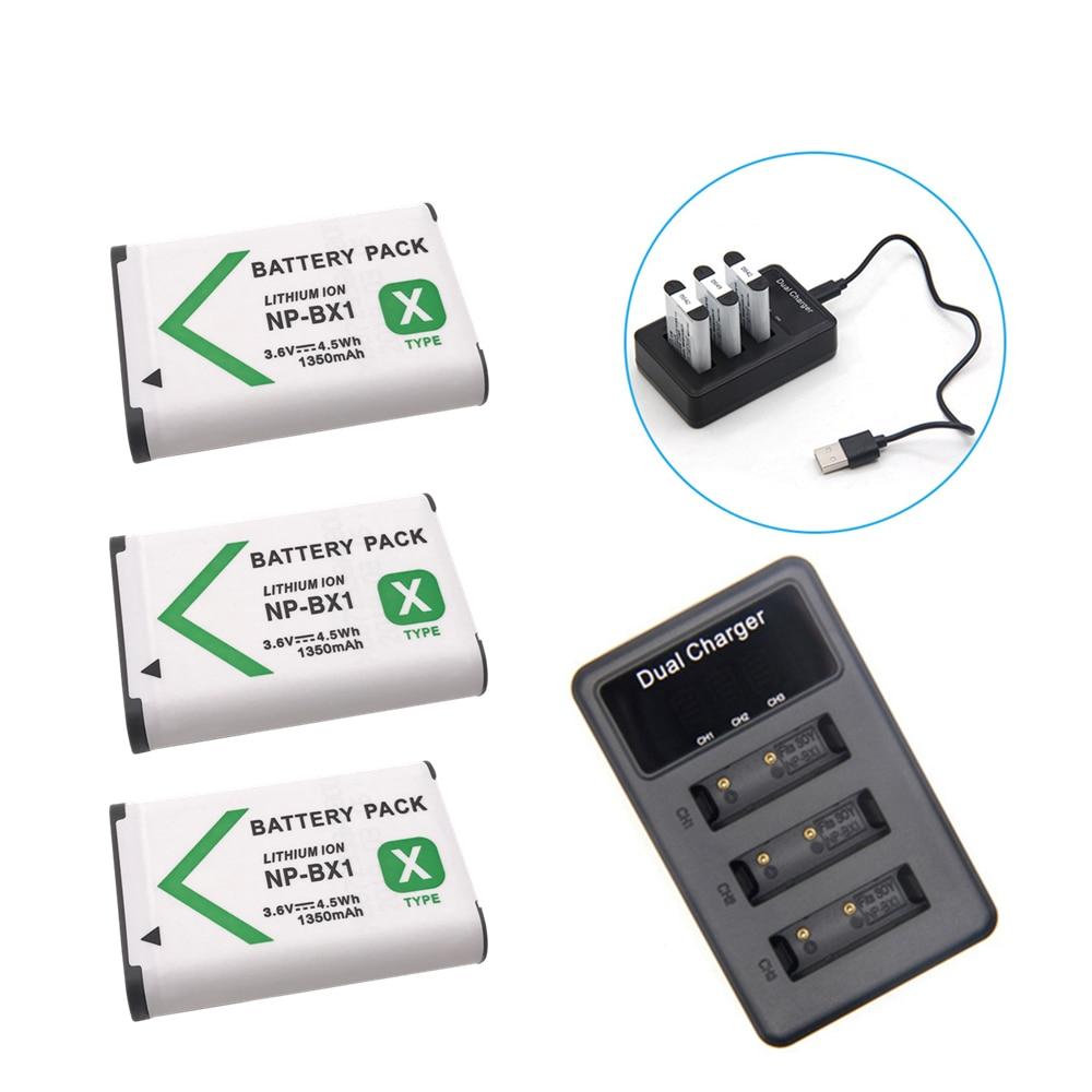Batería de NP-BX1 NPBX1 NP BX1 + cargador de 3 ranuras para...