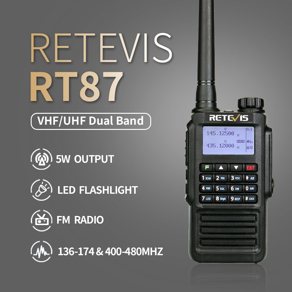 Waterproof IP67 Retevis RT87 Walkie Talkie Dual Band VHF UHF DTMF Amateur Ham Radio Walkie-Talkies Two Way Radio Hunting Outdoor enlarge