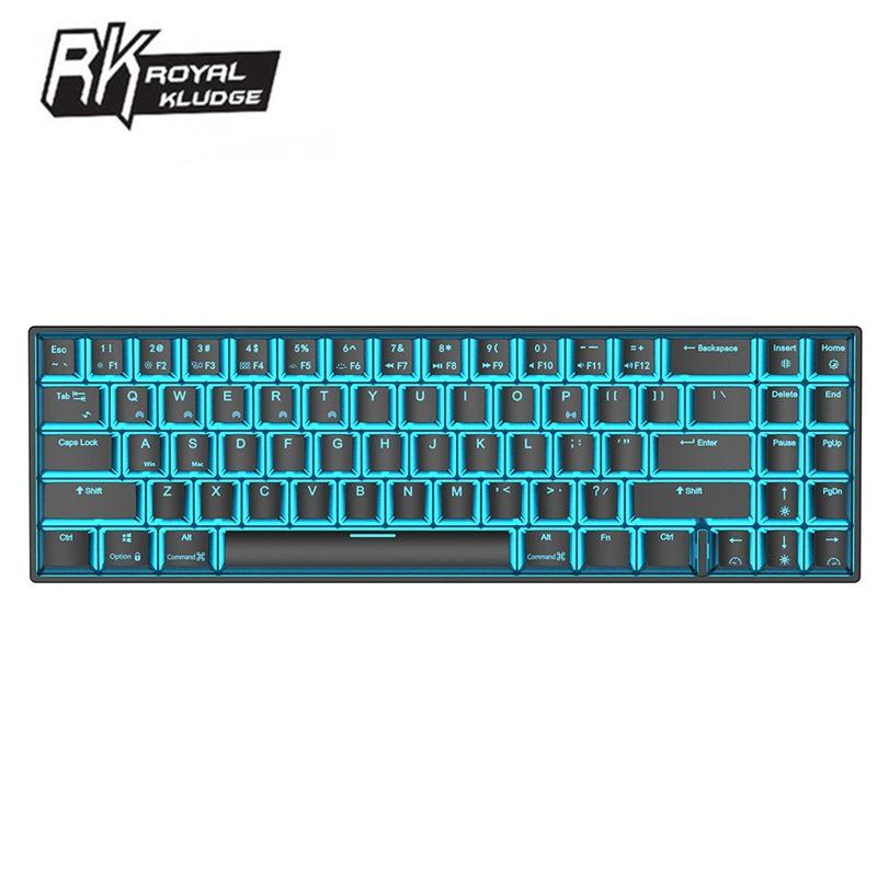 رويال كلودج RK71 71 مفاتيح لوحة مفاتيح الألعاب الميكانيكية بلوتوث متوافق لاسلكي USB الجليد الأزرق الخلفية الأزرق البني الأحمر التبديل
