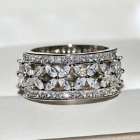 2020 new silver color big band ring with bling zircon stone for women wedding engagement ring fashion jewelry best gift