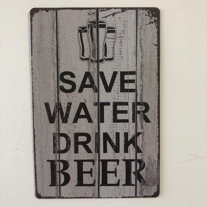 [Luckyaboy] guardar agua bebida cerveza placa Vintage Metal lata signos hogar Bar Pub garaje decoración placas hombre cueva pared pegatina