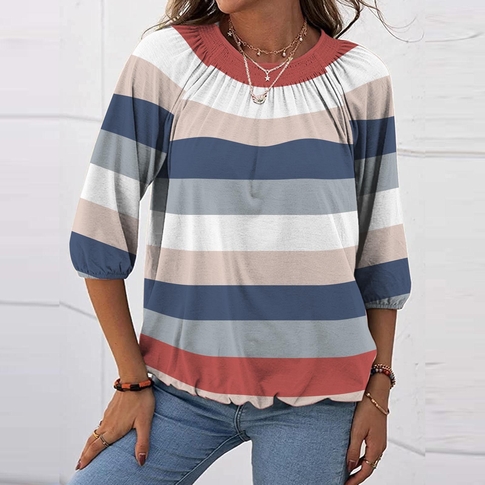 De moda De las mujeres impreso T-camisa De cuello redondo Blusa manga...