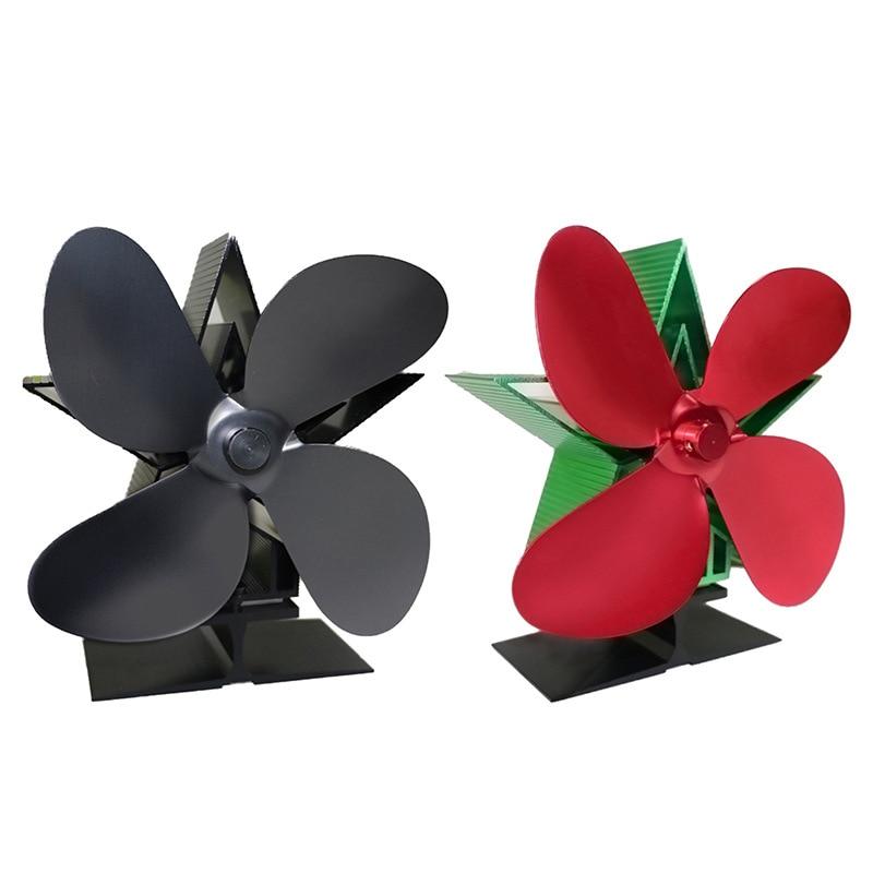 الموقد 4 شفرات تعمل بالطاقة الحرارية موقد مروحة سجل الخشب الموقد هادئة المنزل الموقد مروحة كفاءة توزيع الحرارة