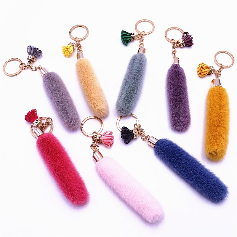 Брелок для ключей для женщин и детей, как кроличий мех, плюшевый пушистый Зверюшка, мини сумка для хвоста, украшение, аксессуар, сделай сам, пряжка, кольцо, держатель для ключей Брелоки      АлиЭкспресс