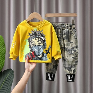 Casual Toddler Boys Tracksuit Clothes Cartoon Pullover Top Camouflage Pants 2021 Children Long Sleeve T shirt  Baby Boys Outfits