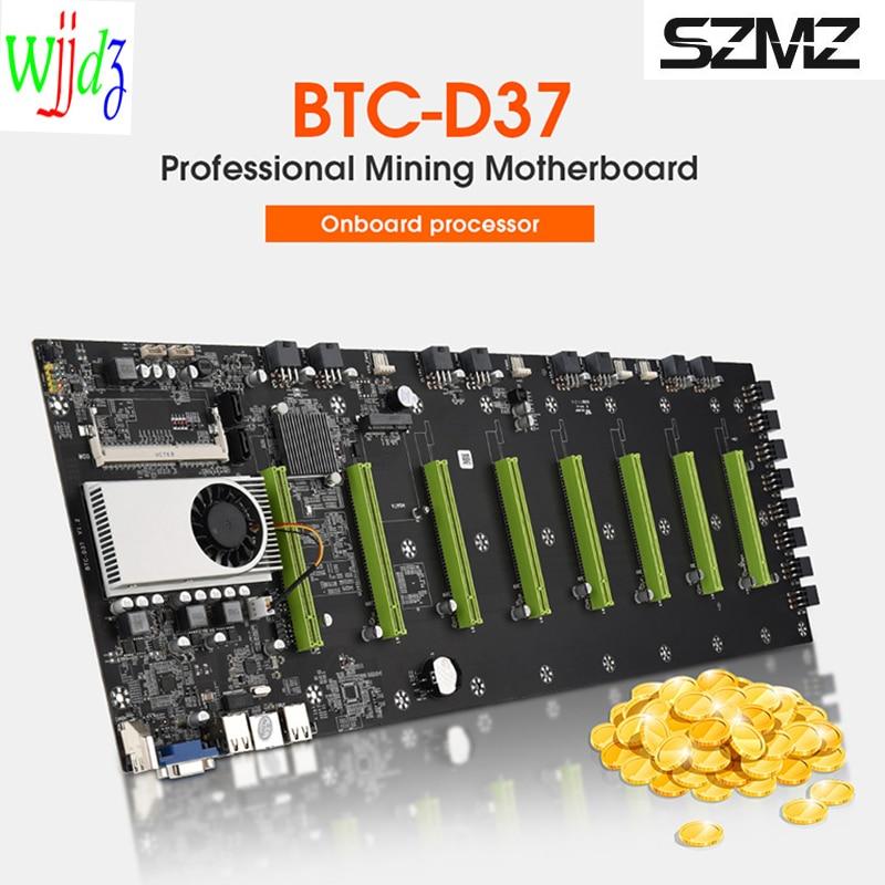 D37 التعدين اللوحة 8 GPU Ethereum التشفير جهاز تعدين بيتكوين دعم DDR3 1066/1333/1600 1037 8P منخفضة الطاقة اللوحة الأم للتعدين