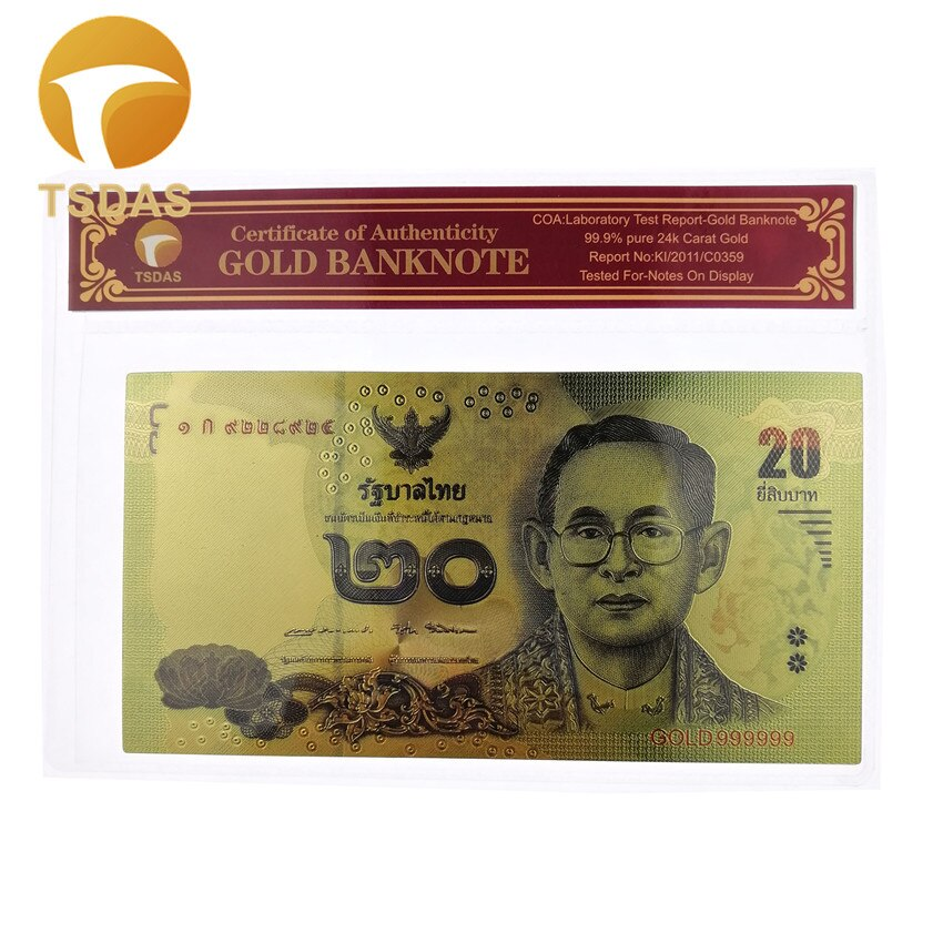 Envío Gratis billete de oro de 24k, billetes tailandeses en chapado en oro 24k con marco COA para regalo