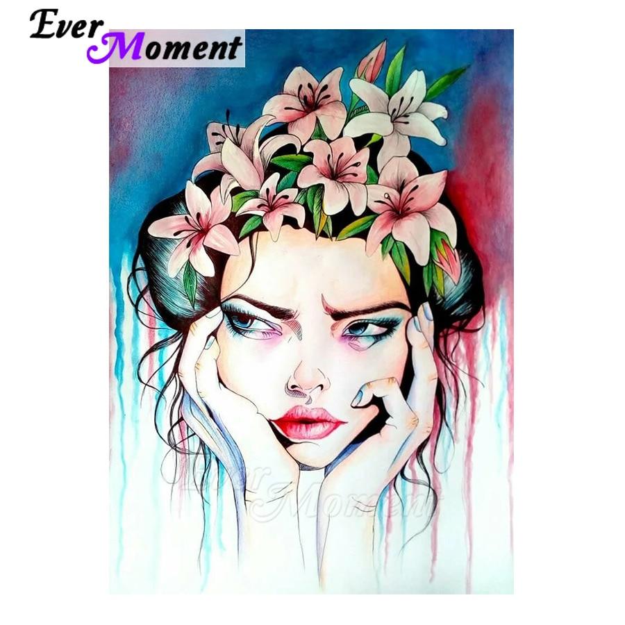 Cuadro de diamantes 5D de Ever Moment, cuadro de mosaico con flores para decoración del hogar 5L338