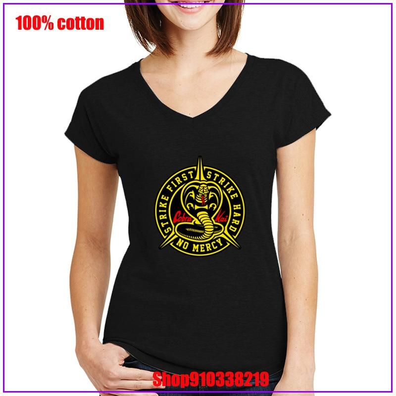Cobra Kai No Mercy Strike primera huelga Karate duro niños camiseta mujeres primera huelga duro No misericordia manga corta Camiseta básica