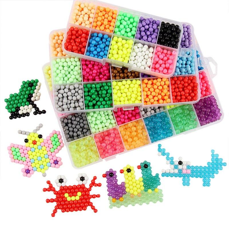 DIY juego de cuentas de niebla de agua, manualidades para niños, cuentas multicolores, rompecabezas para niños, niebla de agua creativa, cuentas adhesivas mágicas, juguetes, regalo para niñas