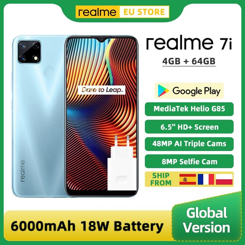 Перейти на Алиэкспресс и купить Глобальная версия Realme 7i 7 я 4GB 64GB смартфон MTK Helio G85 6,5 ''Экран 48MP AI тройной Камера быстрого заряда 18 Вт 6000 мА-ч