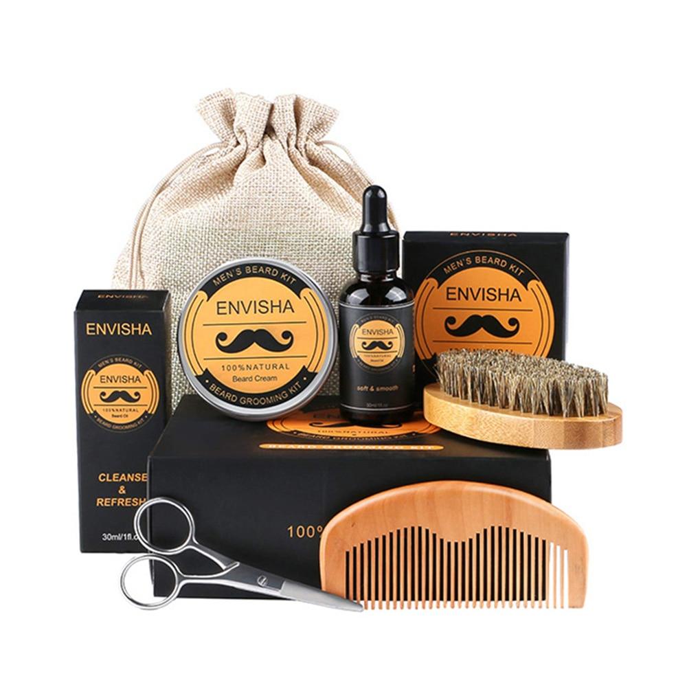5pcs/set Men Beard Kit Styling Tool Beard Bib Aprons Balm Beard Oil Comb Moisturizing Wax Styling Scissors Beard Care Set недорого
