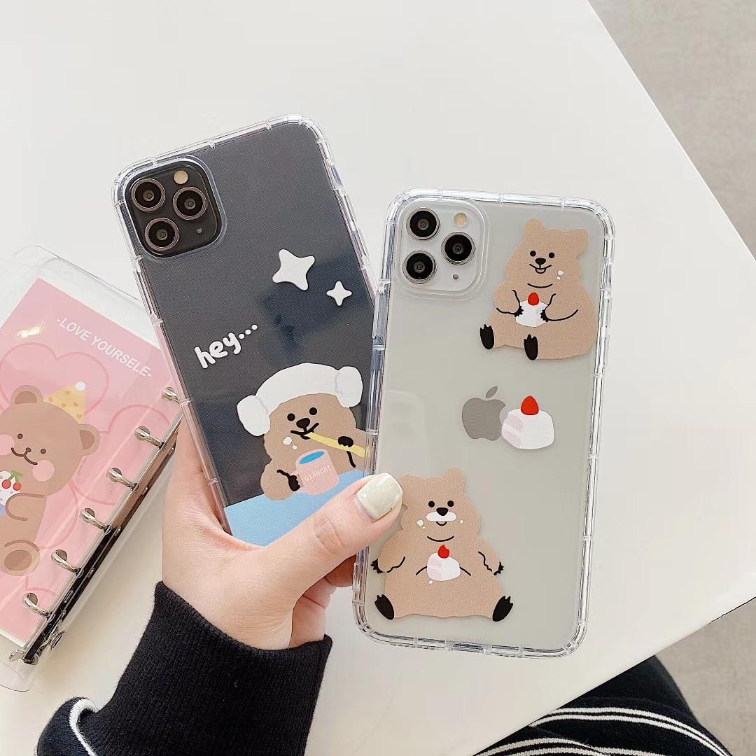 Funda de teléfono de poliuretano termoplástico suave de INS Korea, bonita y divertida carcasa de oso para iPhone 11 pro MAX Xs MAX Xr X 7 8 plus