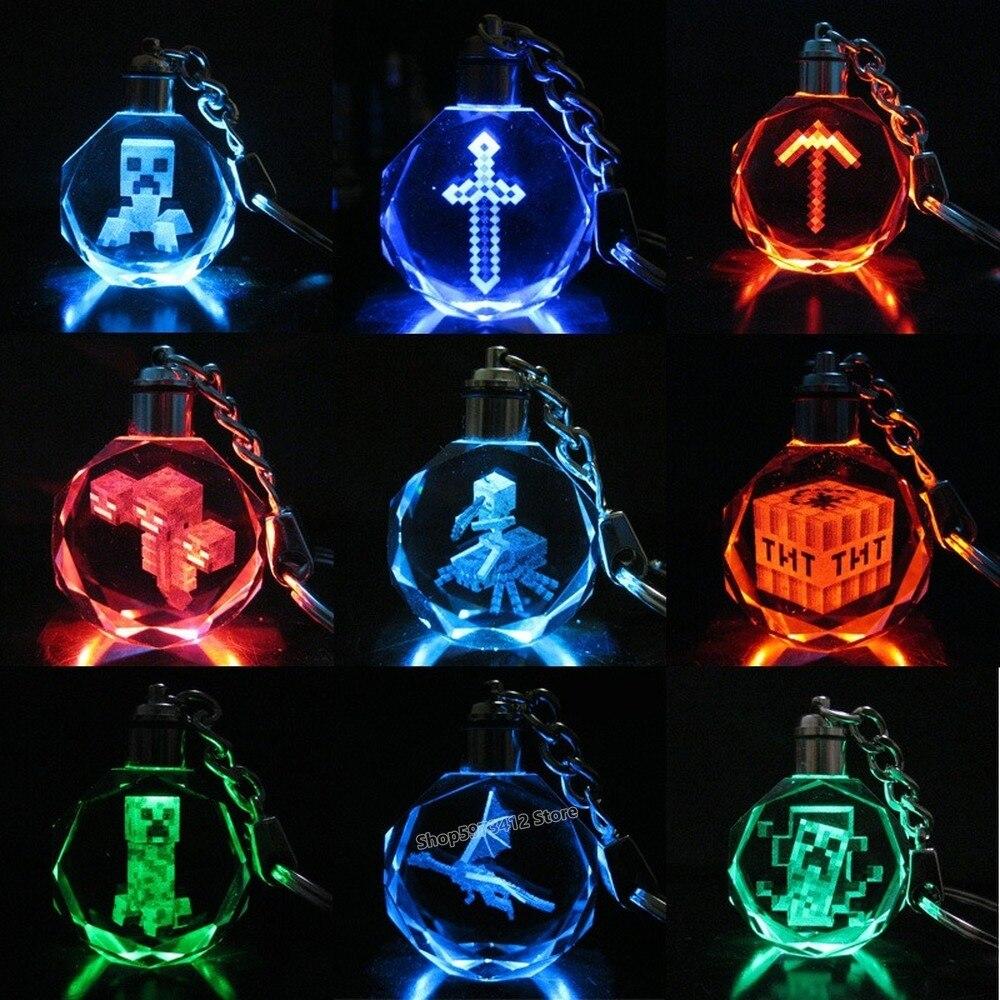 Llavero Mycrafts Creeper con forma de pixeles para minería, figura de Anime, variedad de luces LED de cristal, llavero colgante, regalos de cumpleaños para niños, juguete bonito