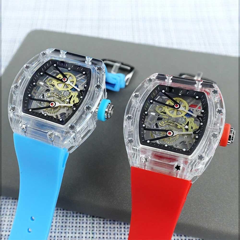 Leisure sports men's watch transparent dial automatic mechanical top brand luxury fashion chronograp