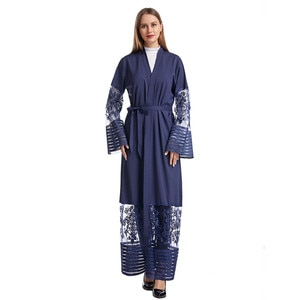 Islamic Fashion Women Net Embroidery Kimono Robe Dress Long Elegant Cardigans middle East Islam Muslim Clothing Africa Costume