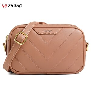YIZHONG Thread Double Zipper Purses and Handbags Luxury Designer Large Capacity Crossbody Bag for Women Mini Pu Messenger Bag.