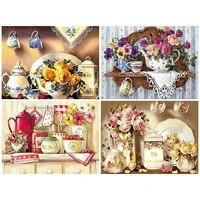 Peinture diamant 5d avec perceuses completes carrees  nouvel arrivage de cuisine  broderie de fleurs  couture  cadeau  decoration de la maison