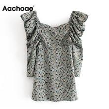 Aachoae 여성 우아한 프릴 미니 드레스 봄 꽃 인쇄 빈티지 파티 드레스 숙녀 퍼프 긴 소매 Bodycon 드레스 2020