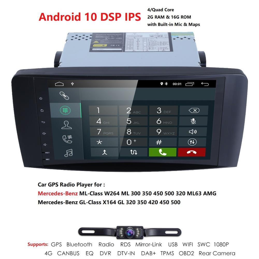 Ossuret Android 10 QuadCore NO-DVD GPS Navi Stereo for Mercedes Benz ML W164 ML300 GL X164 GL320 350 420 450 500 R W251 280 Cam
