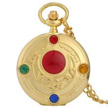 Marin doré lune eux montre de poche pour les femmes avec collier chaîne collier pendentif Quartz montres dames analogique horloge fille cadeau