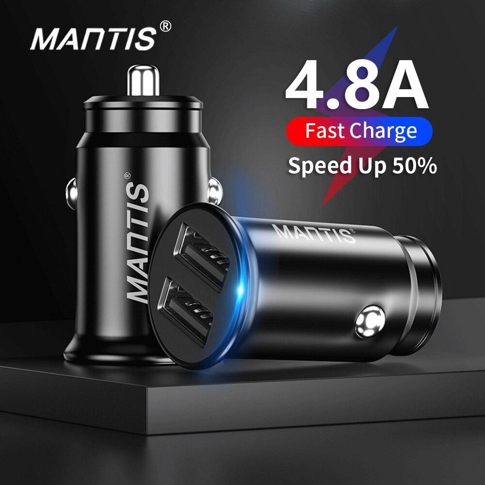 Автомобильное зарядное устройство MANTIS с USB, 4.8A Мини Автомобильный Адаптер зарядного устройства для телефона в автомобиле для samsung S10 Plus Xiaomi Redmi Note 7 iPhone 11 XR XS 8