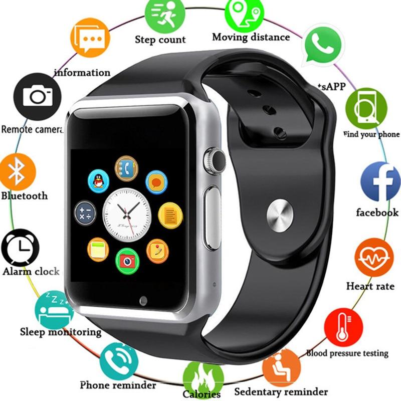 Giausa 2020 a1 relógio inteligente pulseira esportes bluetooth pedômetro com sim 0.3mp câmera à prova dwaterproof água relógio masculino