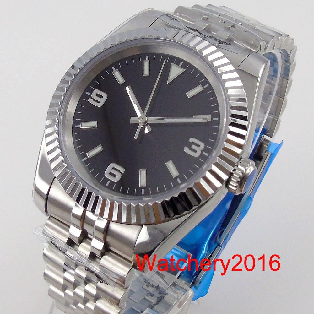 ساعة يد رجالي أوتوماتيكية سوداء معقمة من BLIGER موديل NH35A ساعة يد مضيئة ومزودة بحزام اليوبيل الخلفي من الزجاج