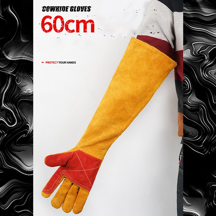 warm winter safety glove split cow leather welding work glove 60cm Welding Gloves For Welder Works With Palm Welders Thick Soft Cow Split Leather Anti-Heat Work Safety Protective Gloves