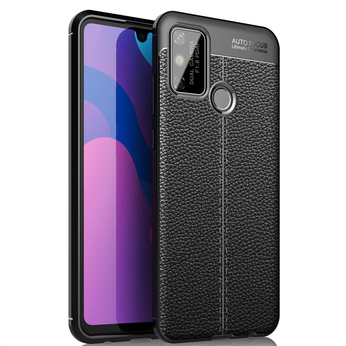 Nueva funda de teléfono con patrón de cuero Litchi para Huawei Honor Play 9A a prueba de golpes TPU funda trasera para teléfono HUAWEI Honor Play 9A