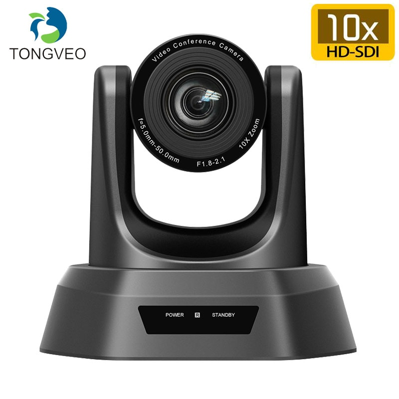 Tongveo NV10A 10X Zoom 2.38MP 1080P PTZ Video Conference Camera USB 3G-SDI and HDMI 3 Outputs for Broadcast Multimedia