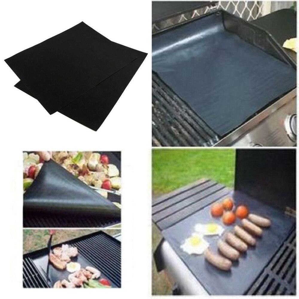 2 unids/set mat barbacoa grill para la parrilla de la barbacoa lámina de cocina y hornear y horno de microondas de usar negro promoción
