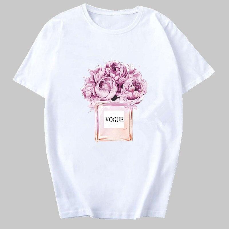 Las mujeres ropa impresión T camisa de flores botella de Perfume dulce manga corta T camisa Harajuku para mujer camiseta tapas de moda de mujer Casual Tee