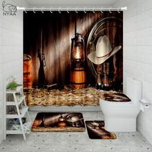 Land Musik Bad Set Vintage Western Cowboy Reiten Pferd Wasserdicht Dusche Vorhang Wc Abdeckung Matte Nicht Beleg Rug Home Deco